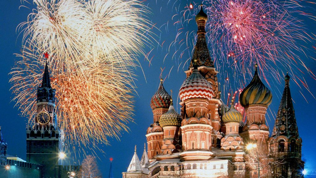 New Years Eve Celebration with fireworks in Moscow Red Square and Saint Basils Cathedral