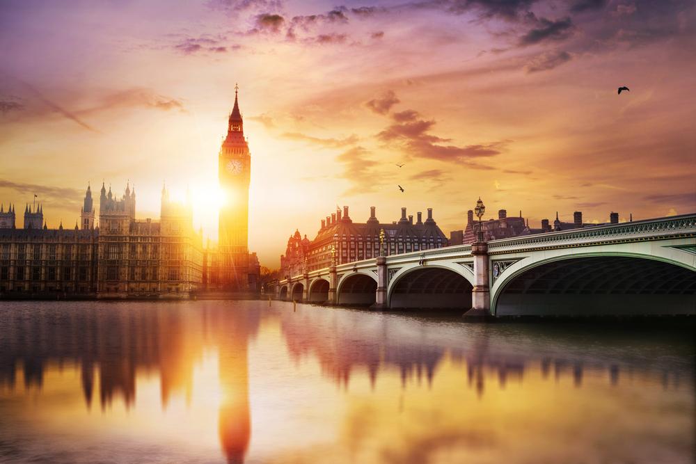 London sunset, Big Ben, Westminster Bridge