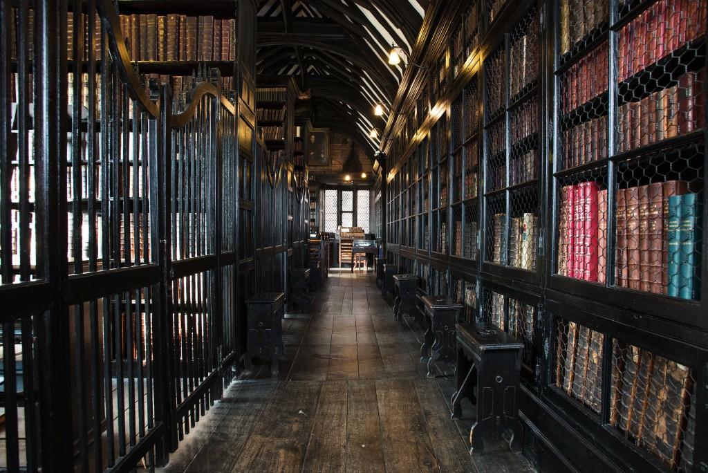 Bookshelves at Chethams Library