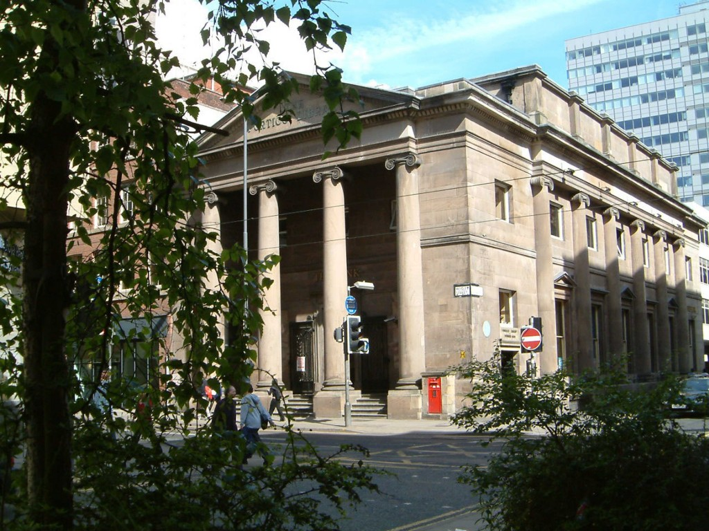 The massive building of independent Portico Library in Manchester