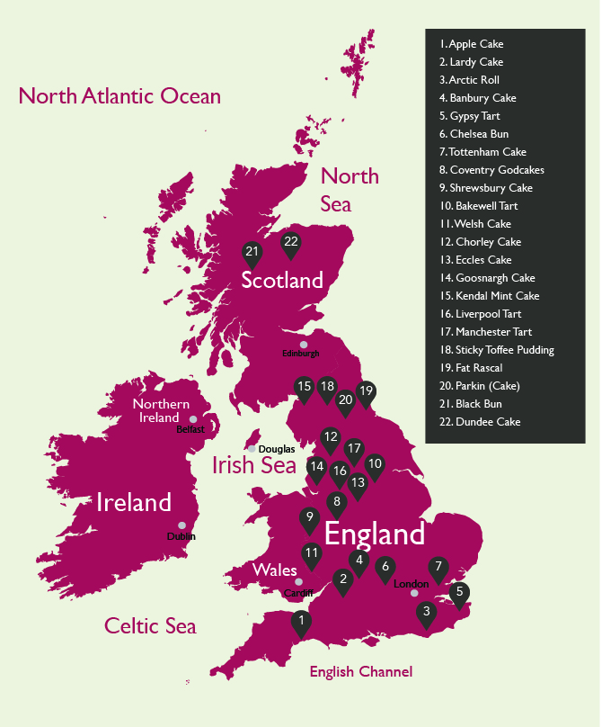 UK Map of  Traditional British Cakes