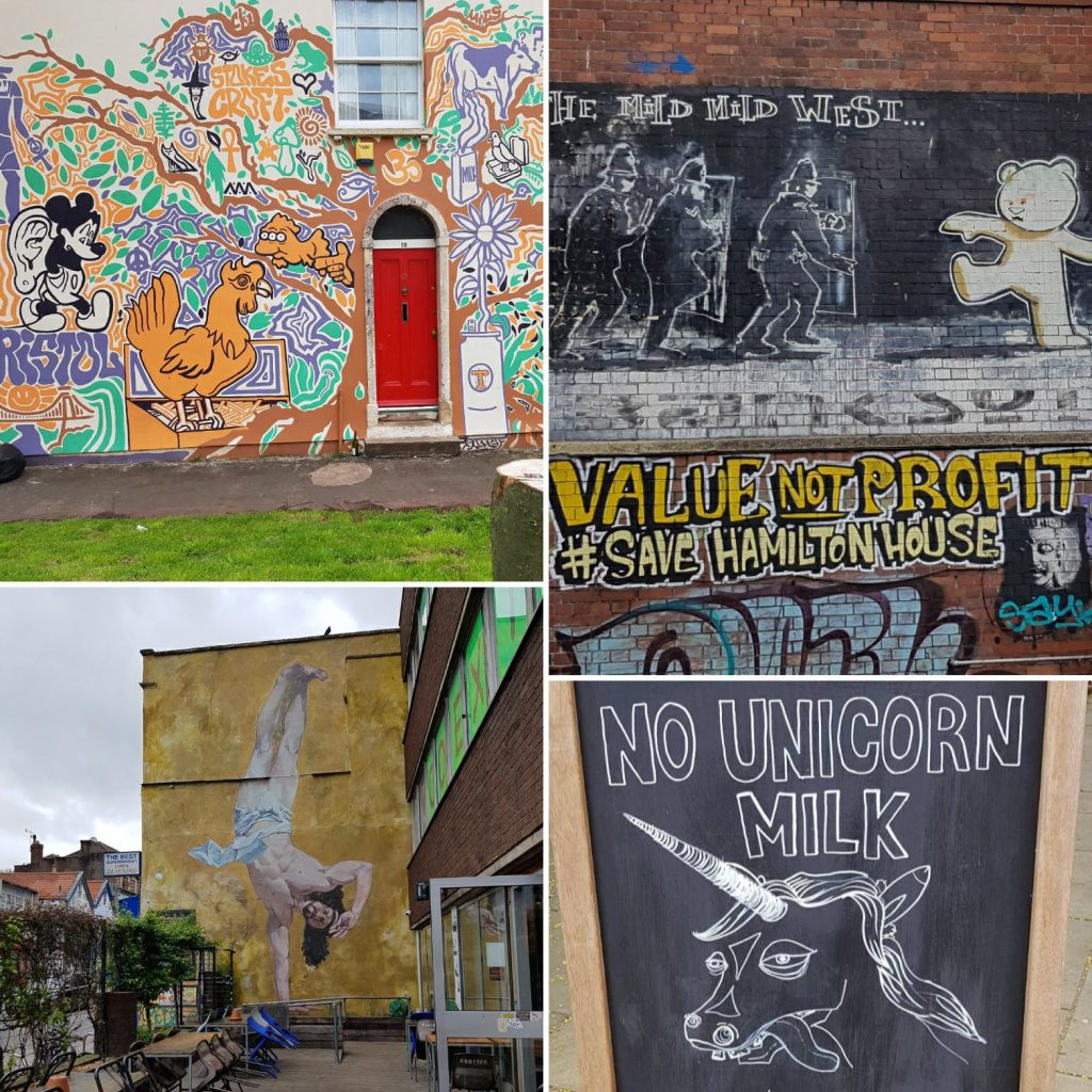 Street art pictures with a sign that say no unicorn milk available from a nearby coffee shop.