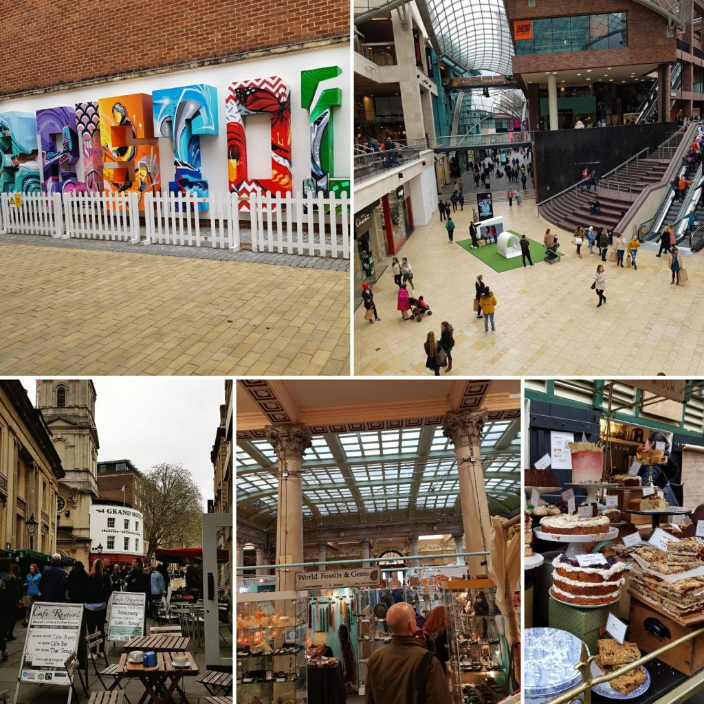 The shopping area of Bristol. Cabot Circus, a big shopping mall, and St.Nicolas markets with food.