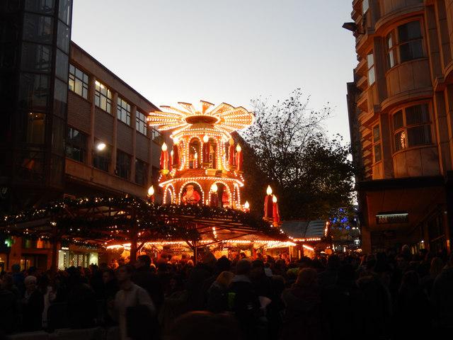 The christmas market in Birmingham