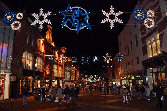 Leeds street with Christmas lights