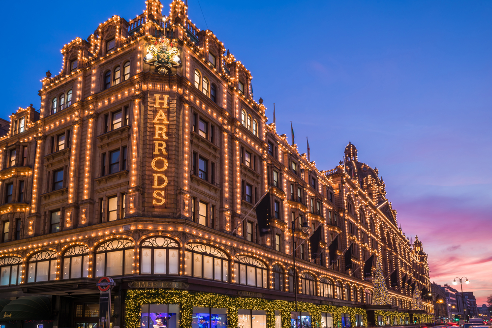 The iconic department store, Harrods, located in Knightsbridge.