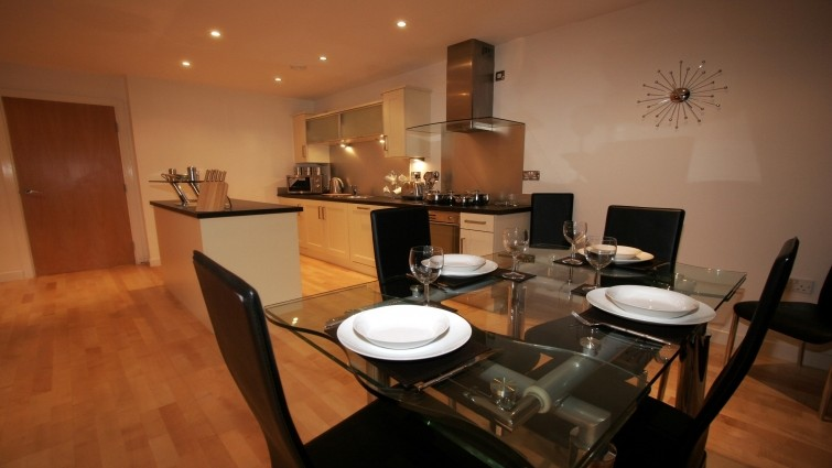 The stylish kitchen and living area at Manor Chare Apartments in Newcastle.