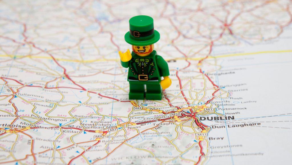Lego leprechaun on a map of Dublin