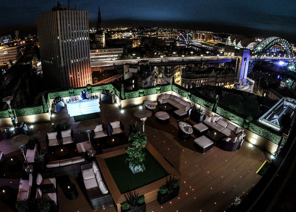 Rooftop bar at the Vermont hotel in Newcastle.