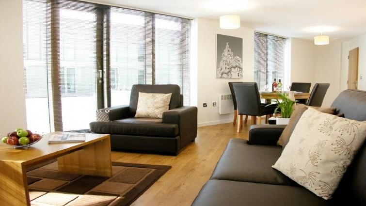 Living area at Liverpool One Apartments
