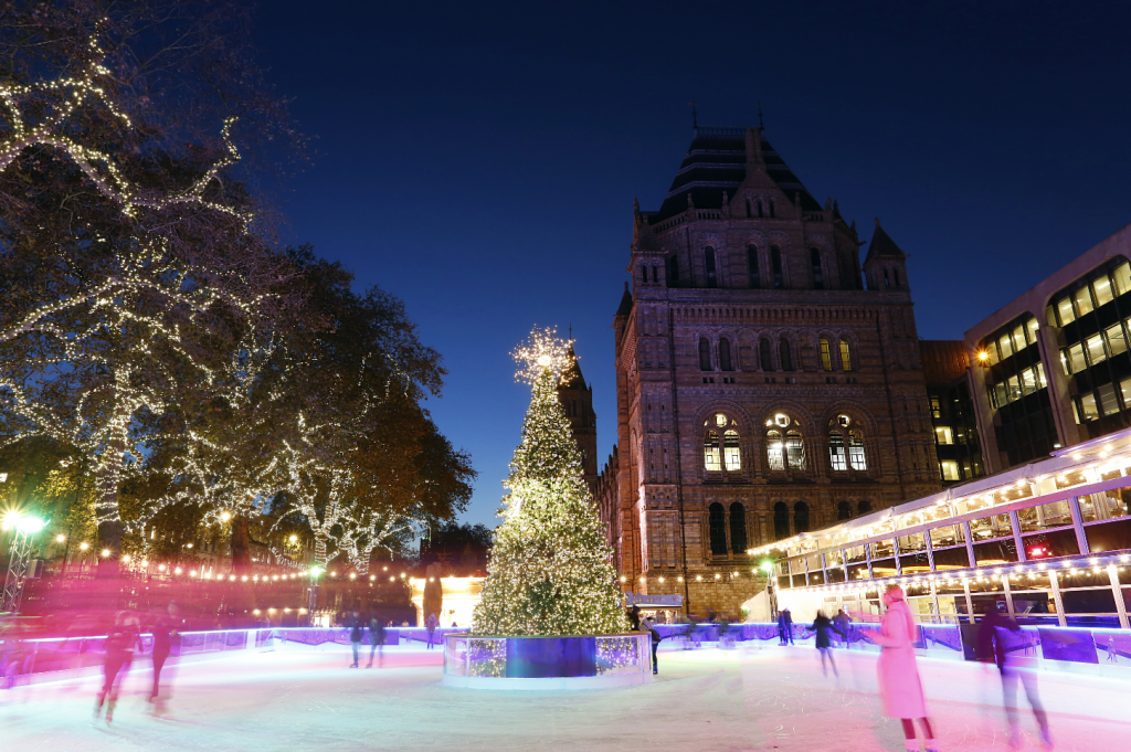 Ice skating next to the Natural History Museum