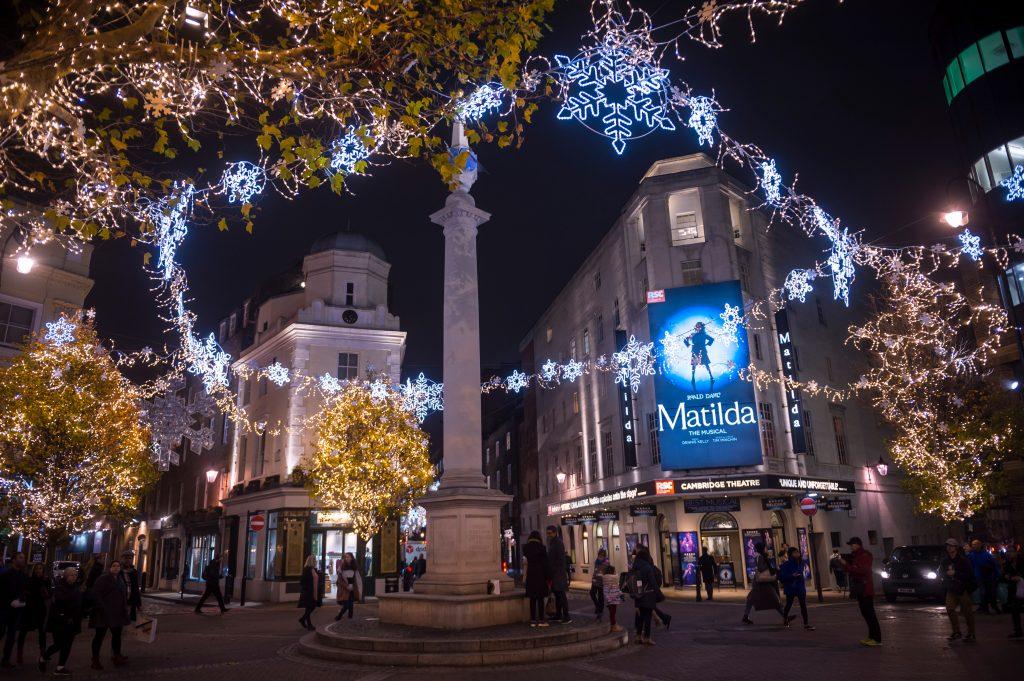 The west end lit up for Christmas time