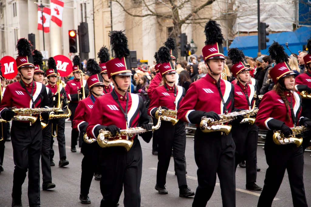 London New Year's Day band parading down the road