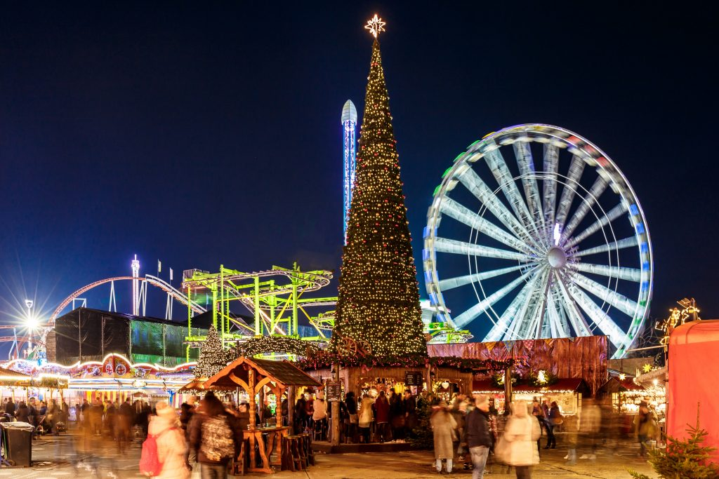 Christmas tree and Ferris wheel at the fair