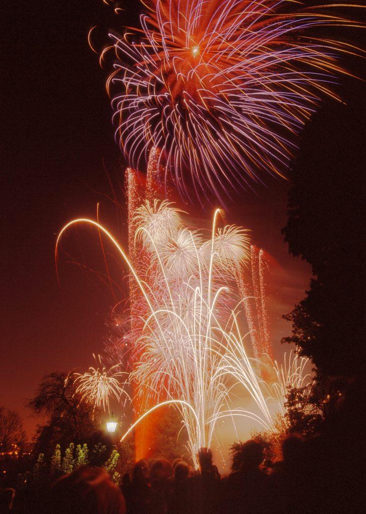 Fireworks set off through the sky