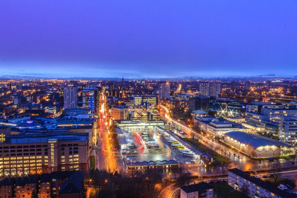 Glasgow lit up at night