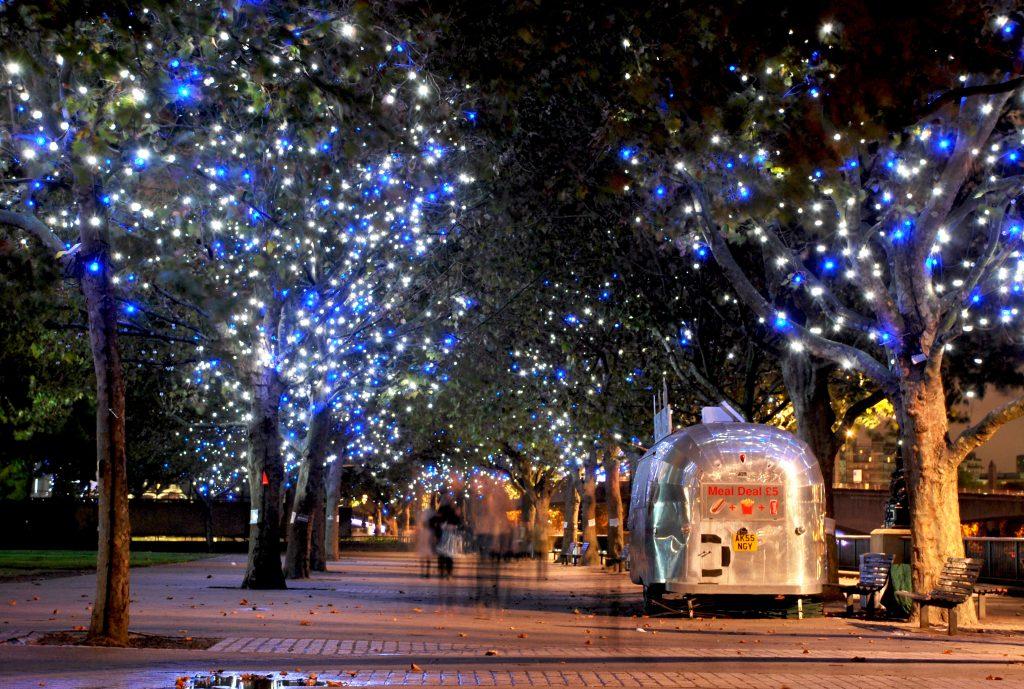 Christmas trees lighting up Southbank