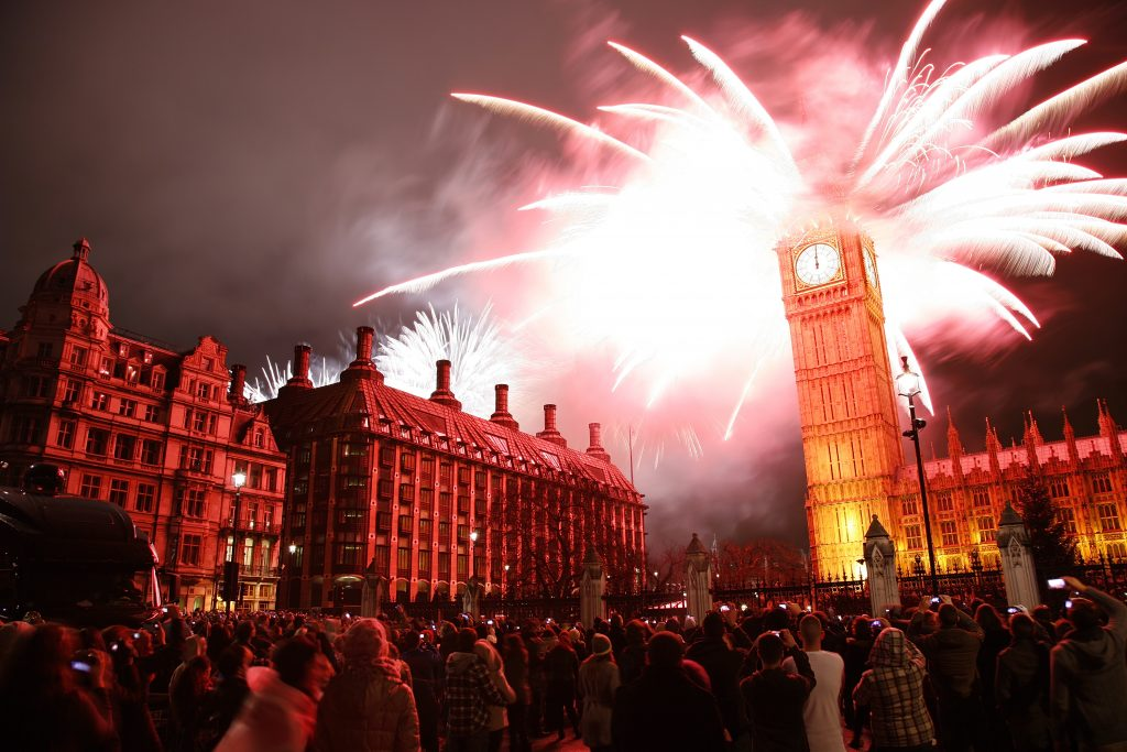 Fireworks being set off from on top of Big Ben
