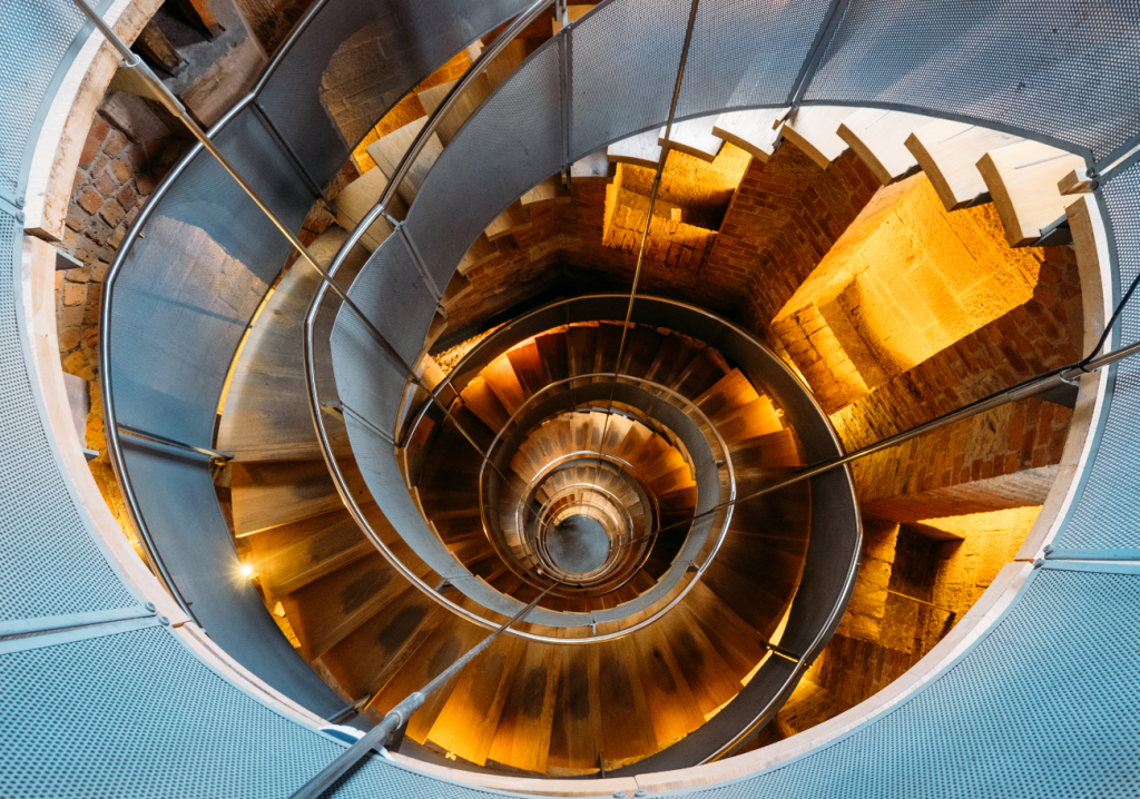 The famous spiral staircase at the Lighthouse