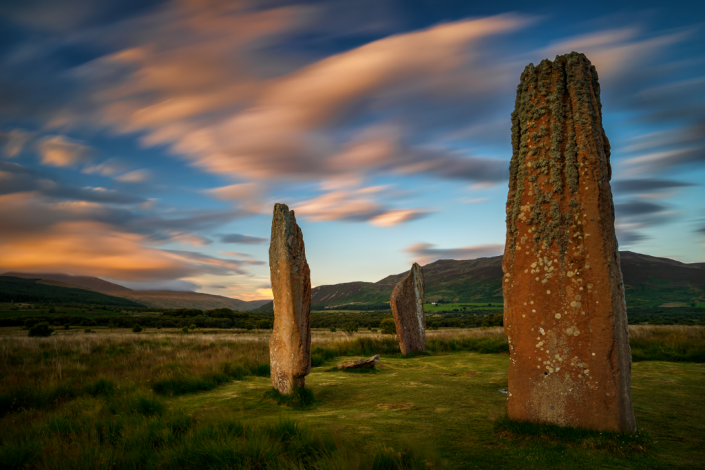 The Machrie Moor Stones with a beautiful sky