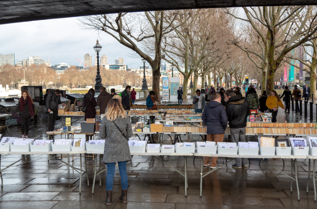 Southbank book market during the winter