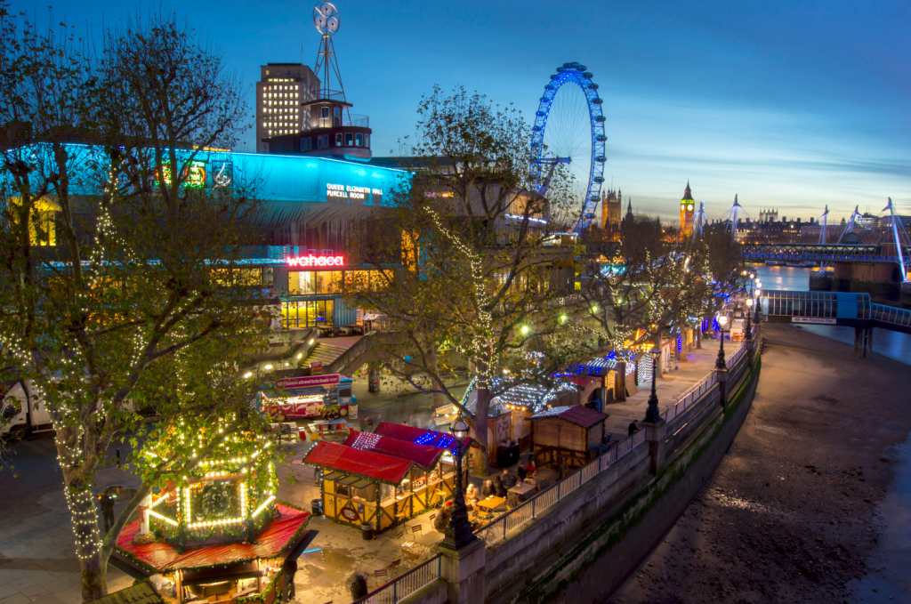 A view of the Southbank winter market and centre