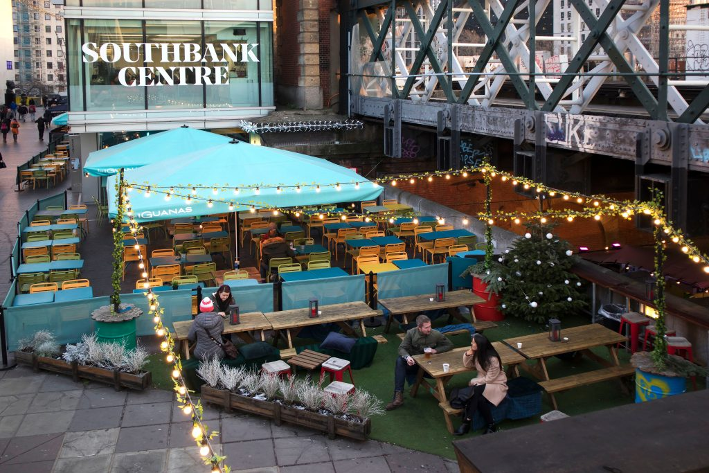 Southbank centre with Christmas lights outside