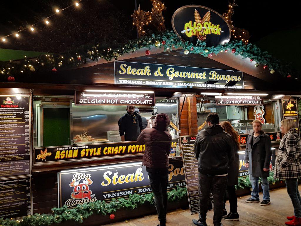 A steaka dn burgers shack at the southbank food market
