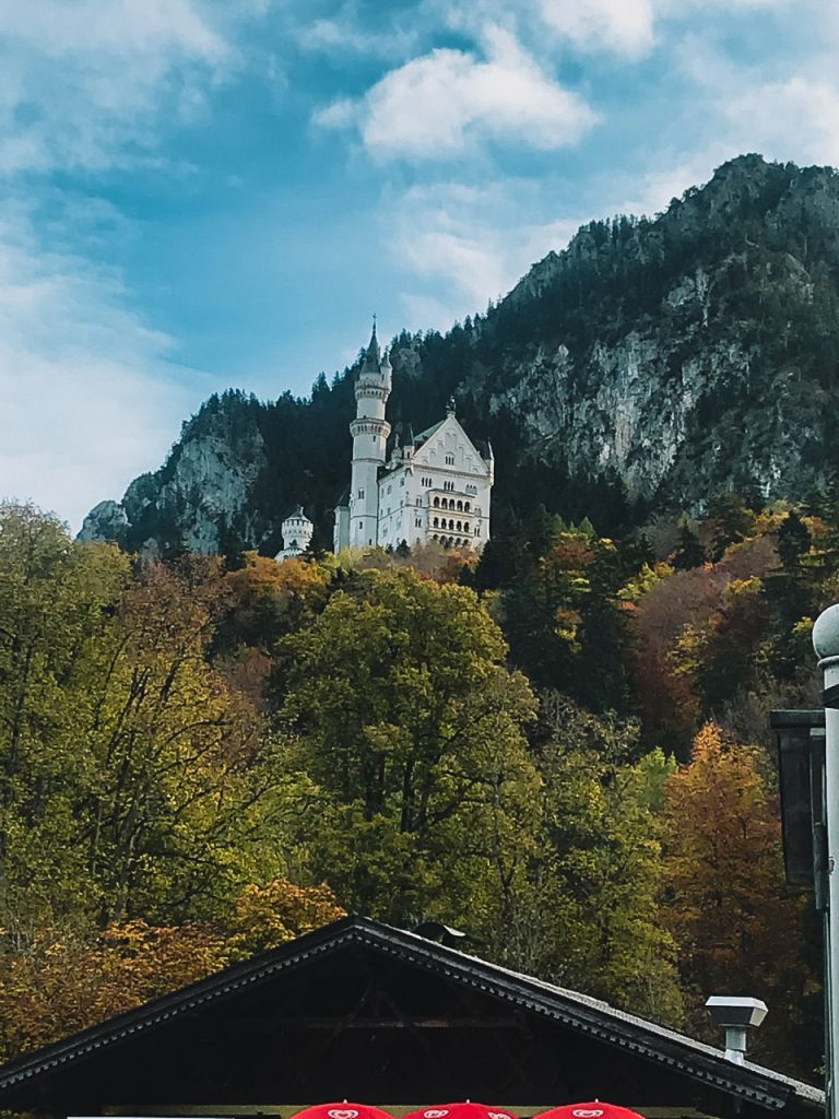 View of Neuschwanstein Castle from the bottom of the hill