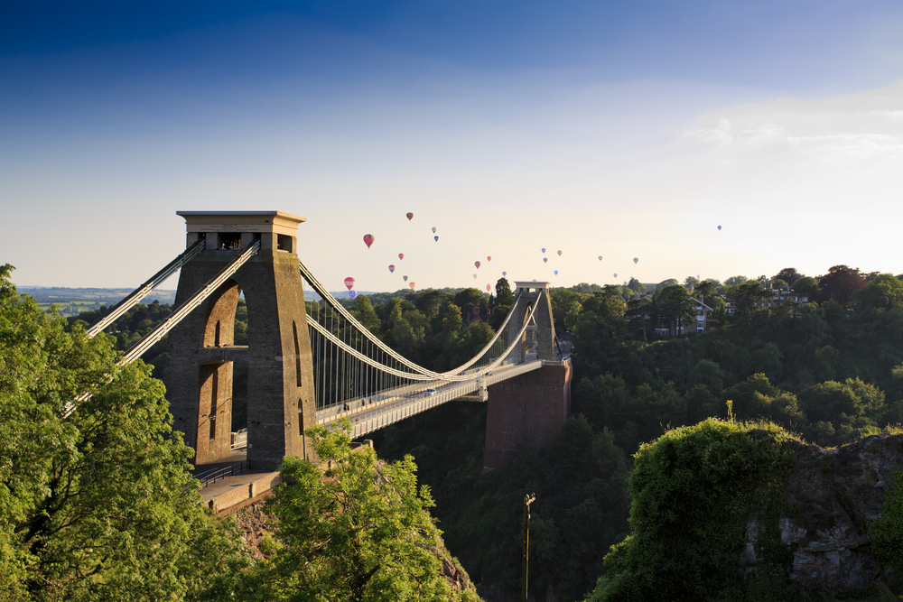Clifton Suspension Bridge and Hot air balloons.