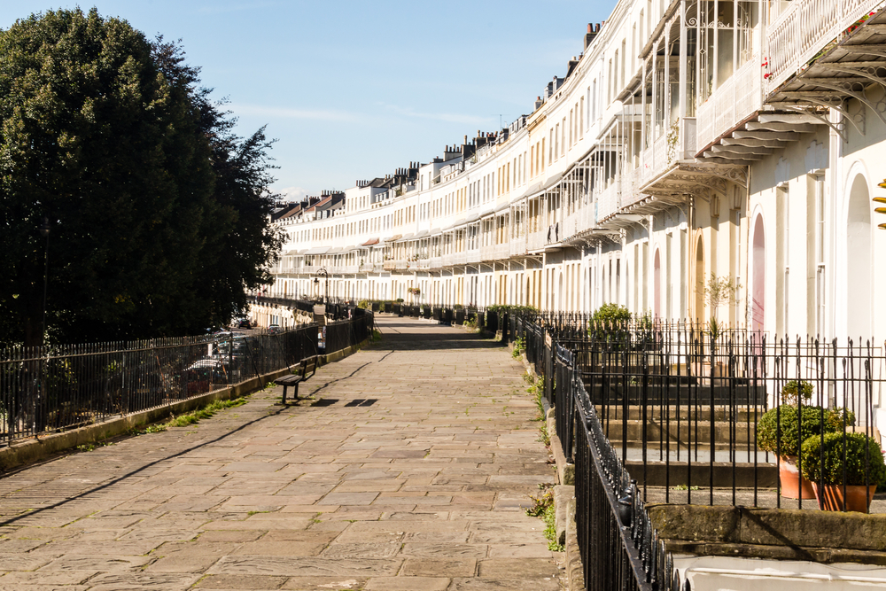 Town houses at Royal York Crescent in Bristol England
