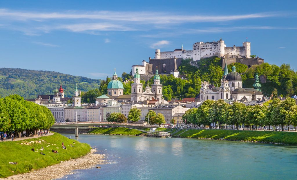 Beautiful view of Salzburg skyline with Festung Hohensalzburg and Salzach river in summer