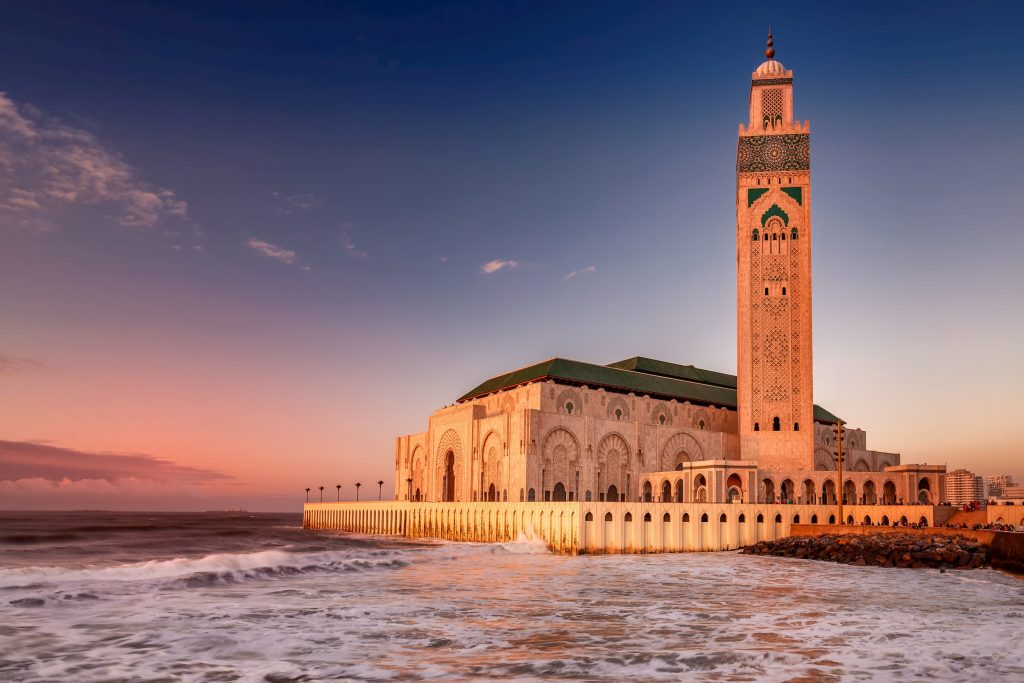 The Hassan II Mosque mosque after sunset in Casablanca