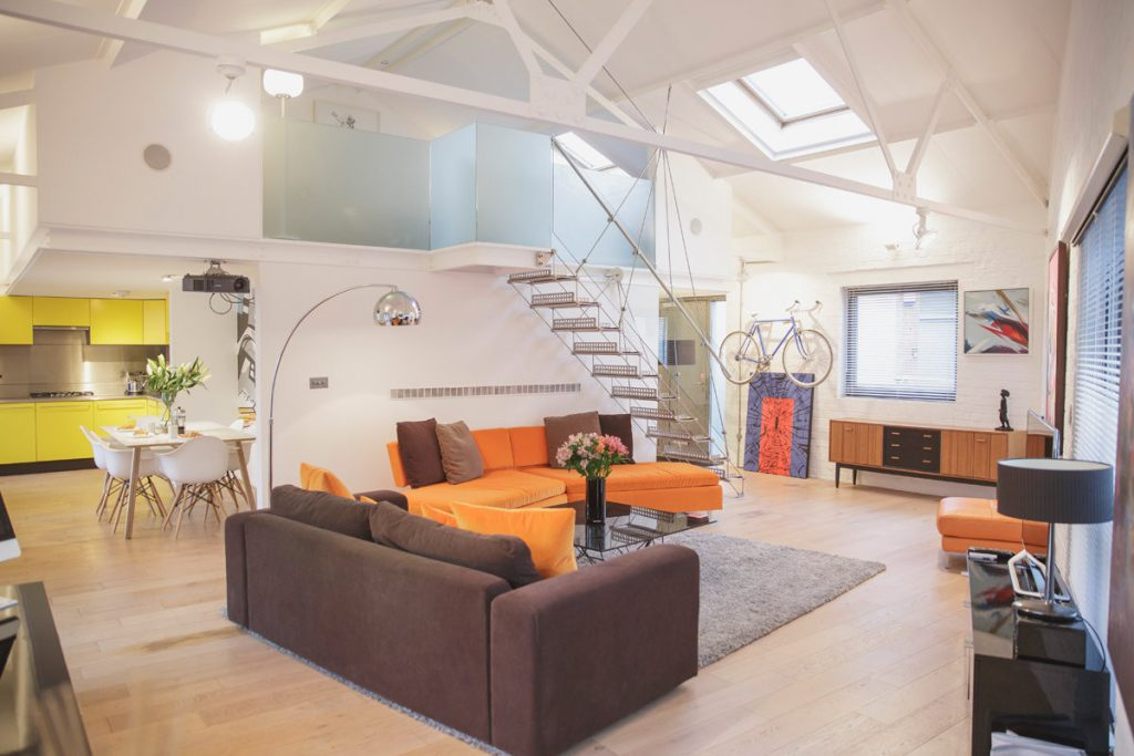 The big living area at Paintworks Apartments, Bristol