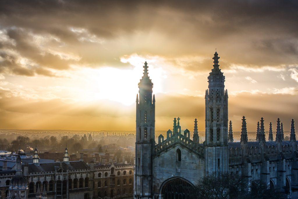 sunset over historic Cambridge