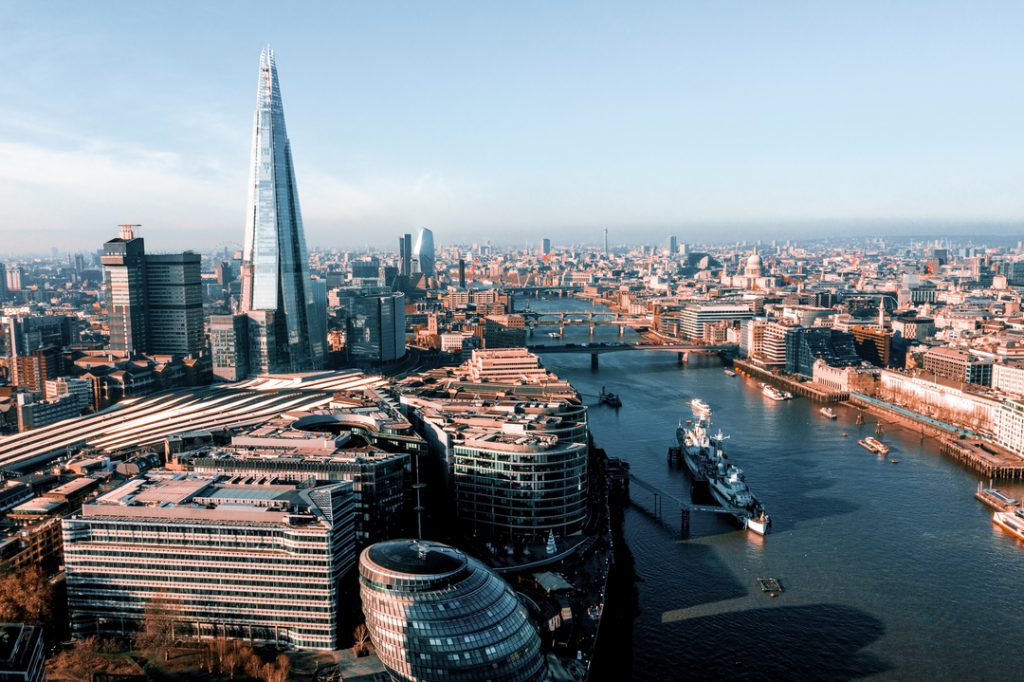 Birds eye view of London and the River Thames