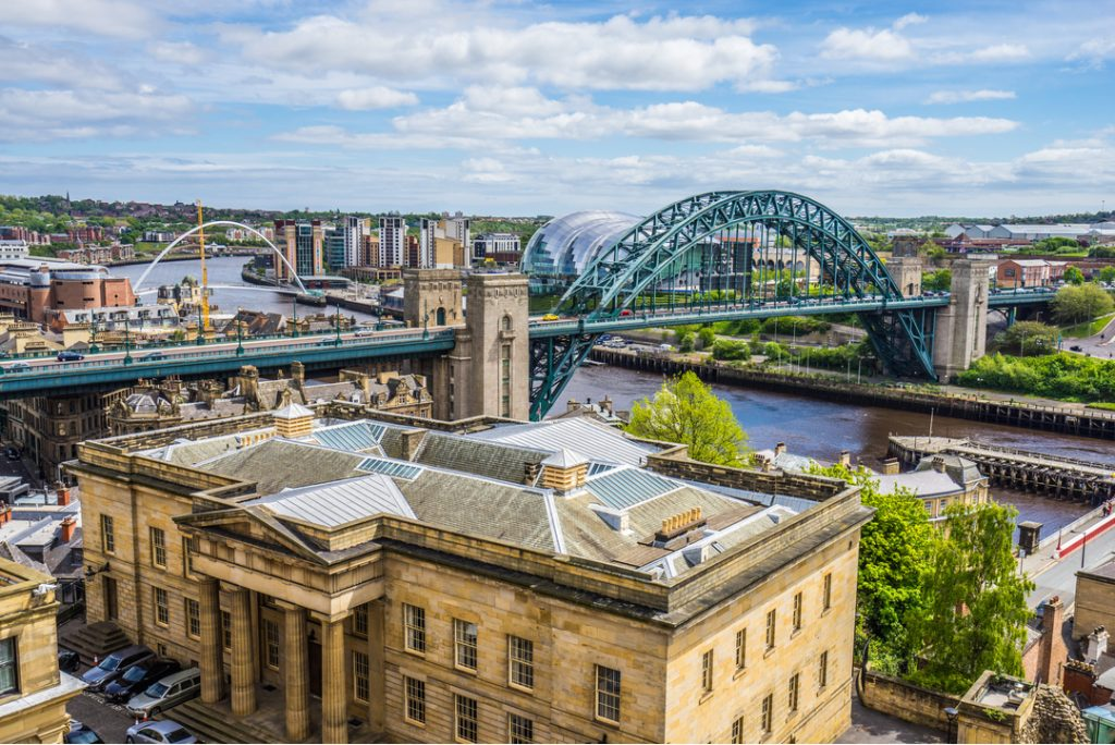 Birds eye view of Newcastle and the Tyne Bridge
