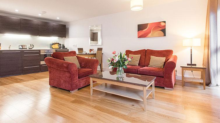 Cosy living area and sofas at Premier Suites Plus Cabot Circus in Bristol