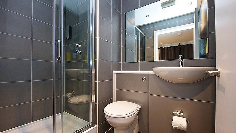 Grey bathroom with large shower