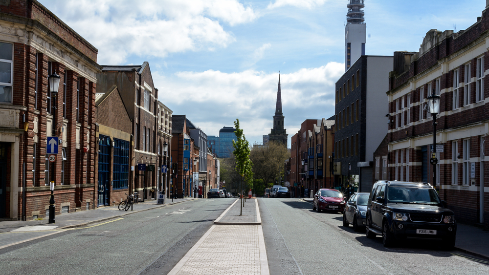 The Birmingham Jeweller Quarter during a sunny day