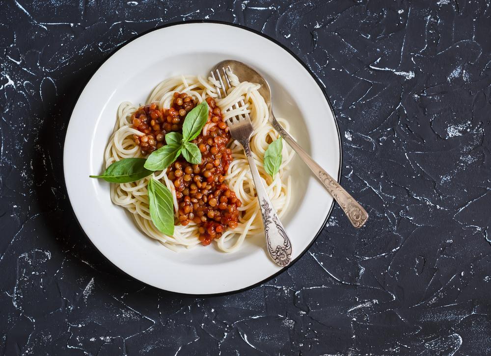 Bowl of lentil spaghetti bolognese