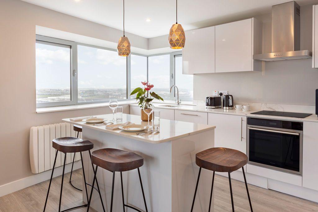 Sleek, modern kitchen at Metro Hotel