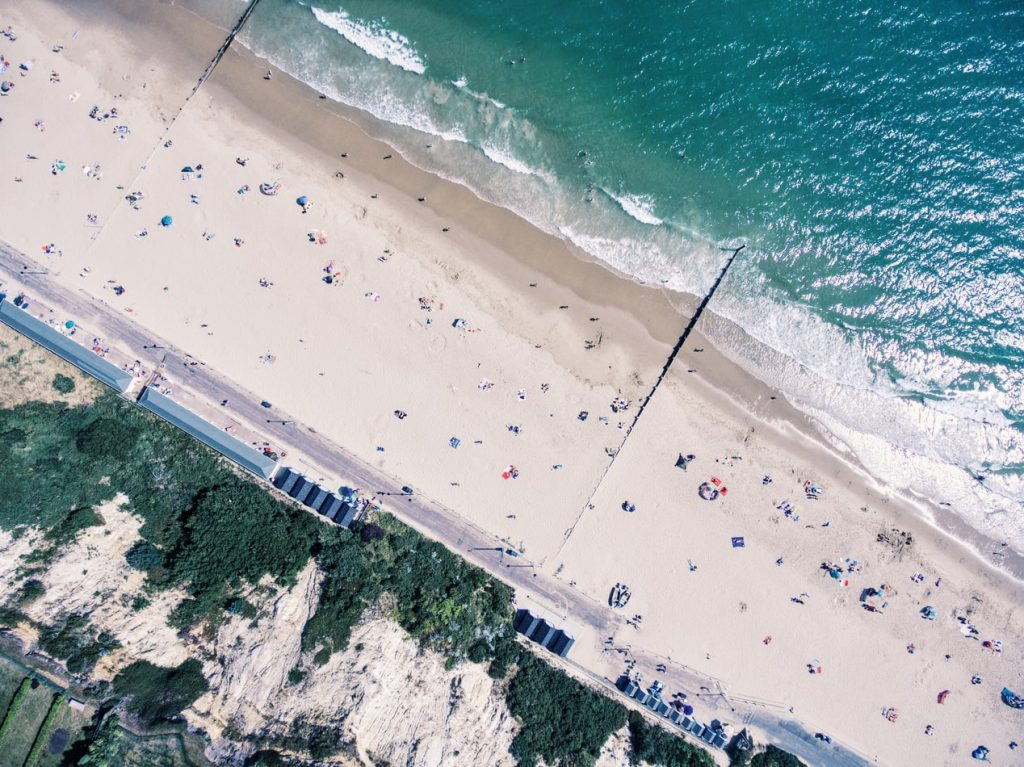 A section of the long stretch of beach which Bournemouth has to offer