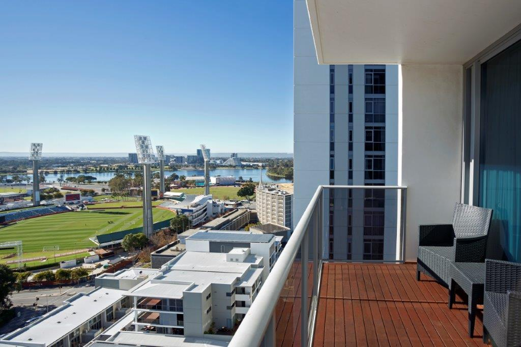 Balcony view at Fraser Suites Perth - Citybase Apartments