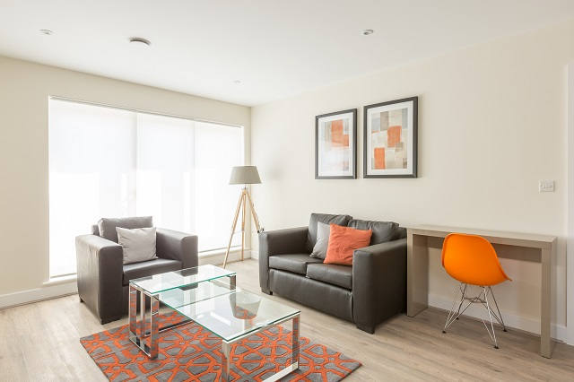 Stylish living area at Solstice House Apartments - Citybase Apartments