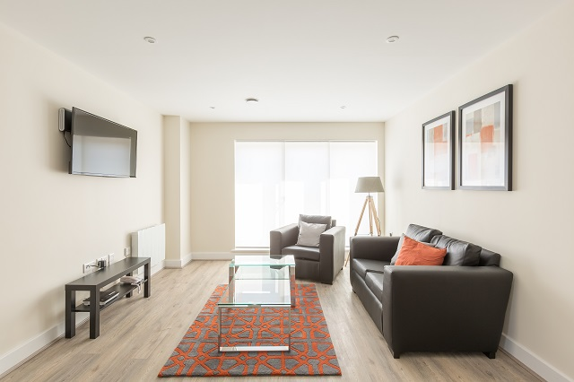Living room at Solstice House Apartments - Citybase Apartments