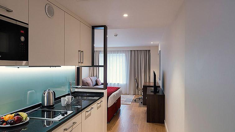 Studio kitchen at Waterloo Apartments - Citybase Apartments