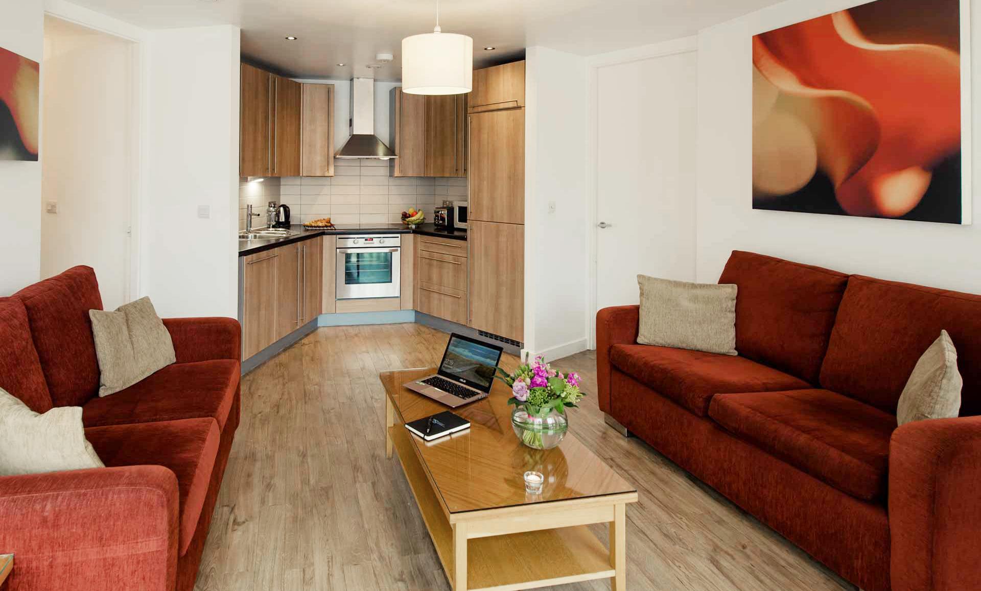 Kitchen area at Premier Suites Liverpool - Citybase Apartments