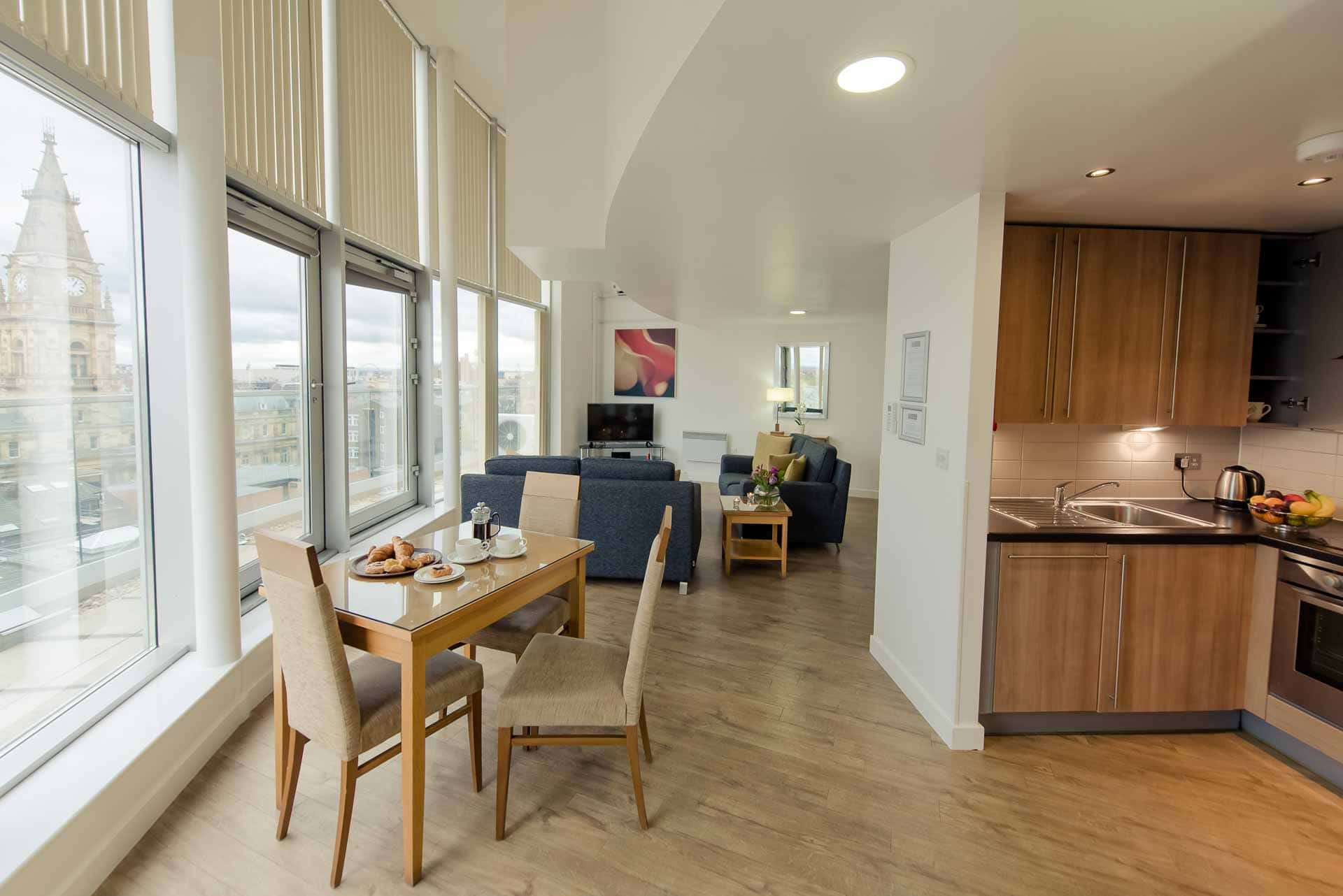 Open-plan living area at Premier Suites Liverpool, Centre, Liverpool - Citybase Apartments