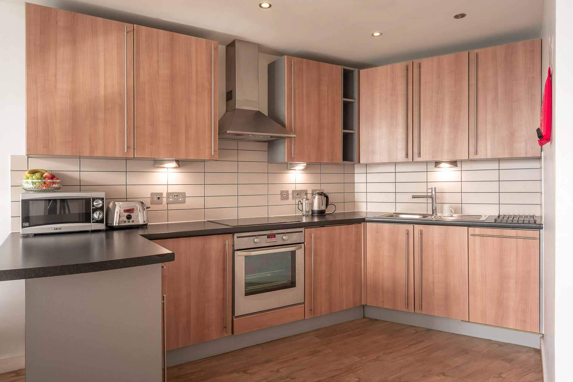 Equipped kitchen at Premier Suites Liverpool, Centre, Liverpool - Citybase Apartments